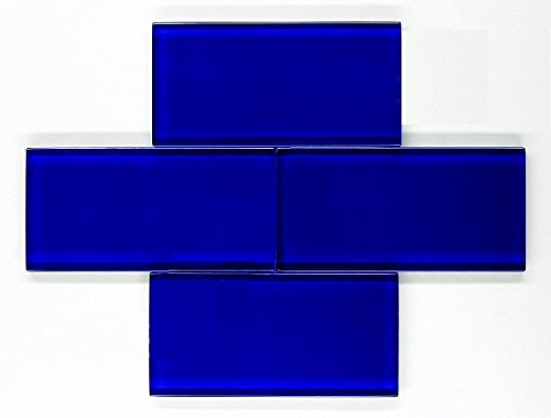 Cobalt blue glass subway tile
