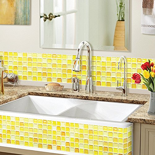 Diy Splashback Backsplash With Wallpaper: Beaustile Yellow Blossom Mosaic 3D Wall Stickers 2 Sheets